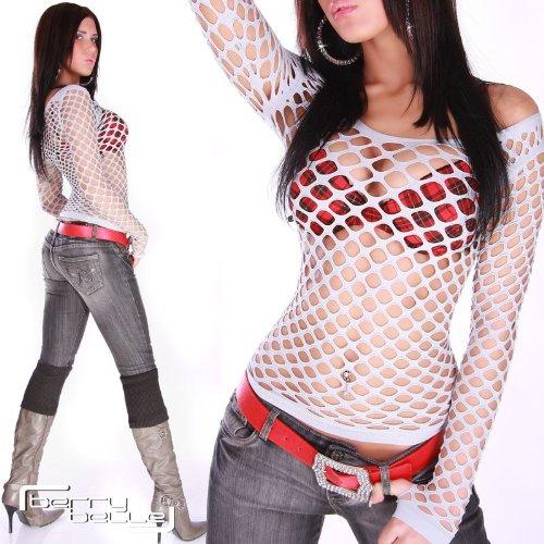 Gogo Langarm Damen Netz-Shirt in 20 stylischen Farben Einheitsgröße (34 - 42) - 7